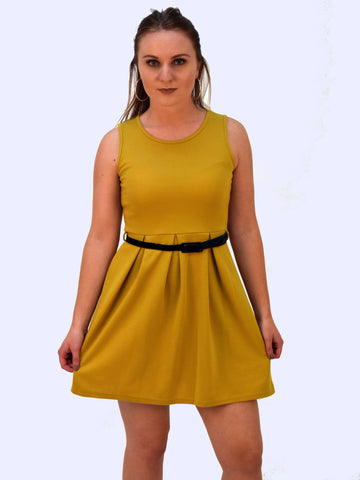 £5 Pleated Skater Dress - Mustard, Charcoal, Mint, Fawn, Light Grey, White & Yellow - Capsuleight