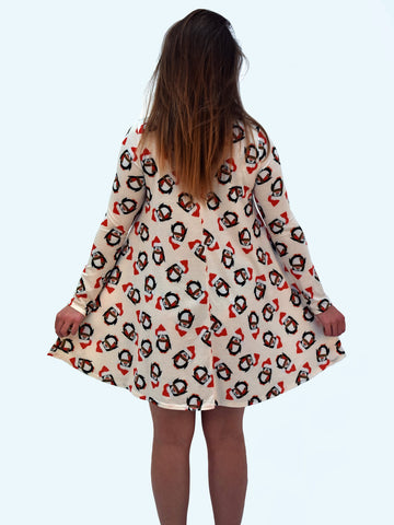 White Penguin Christmas Dress - Capsuleight