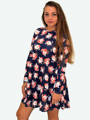 Navy Santa Christmas Dress - Capsuleight