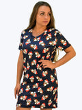 Navy Penguin Short Sleeve Christmas Print Dress - Capsuleight