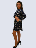 Navy Reindeer Christmas Print Dress - Capsuleight