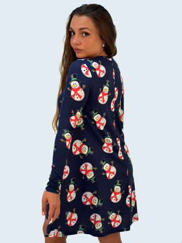 Navy Snowman Christmas Dress - Capsuleight