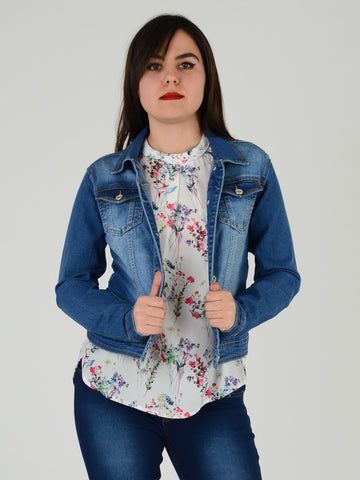 Our model wearing our slim fit denim jacket in mid blue. the model is 5ft 3 inches tall