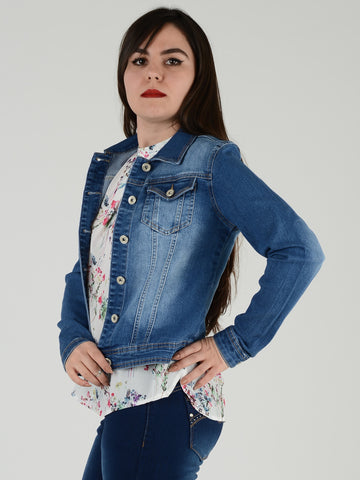 Another side view of slim fit denim jacket worn by one of our models.