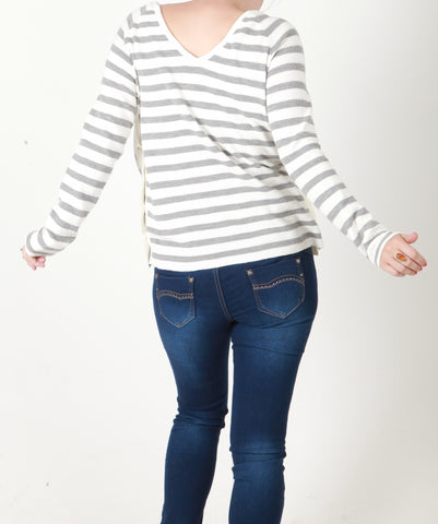 White & Grey Stripe Cotton Ribbed Jumper - Capsuleight