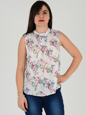 Ivory Floral Sleevless Blouse