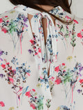 Ivory Floral Sleevless Blouse - Capsuleight