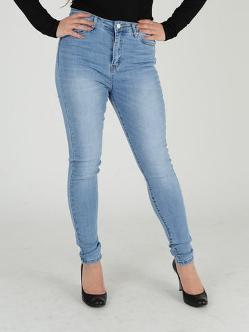 A full length shot of our light blue denim high waisted skinny jeans.