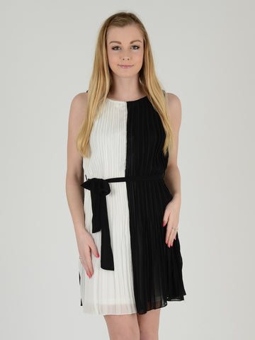 Black and White Sleeveless Pleated Dress - Capsuleight
