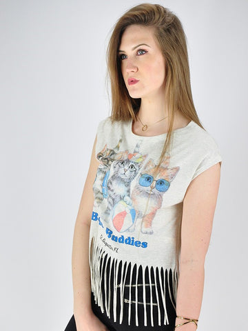 Cats Print Fringe Crop T-shirt