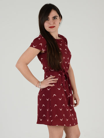 Burgundy Short Sleeve Bird Print Dress
