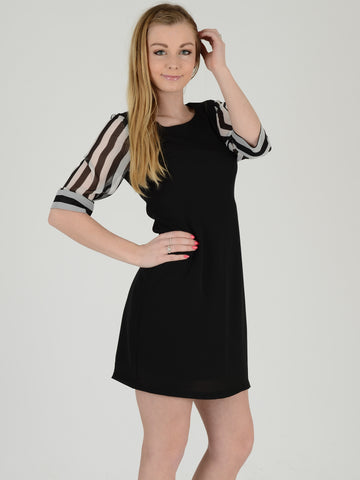 Front on picture of a Black dress with stripe sleeve