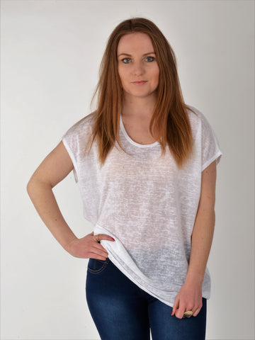 A front on picture of this basic white loose fit T-shirt as worn by our model.