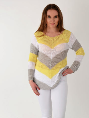 A front on picture of this striped jumper in Lemon, white and light grey as worn by our model.