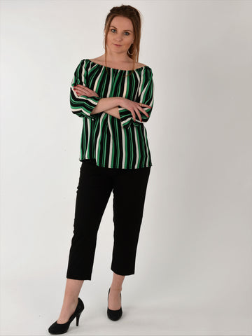 Green, White & Black Stripe Blouse - Capsuleight
