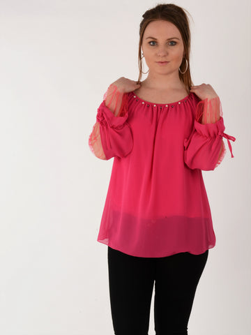 Lace Sleeve Pink Blouse - Capsuleight