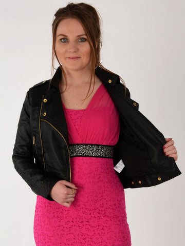 Our model waering our leather look biker jacket