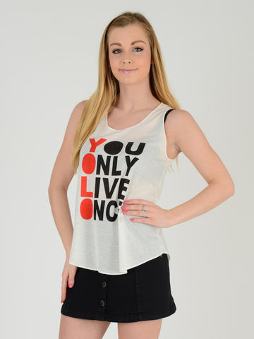 Front on picture of our Vest with the slogan YOLO- you only live once