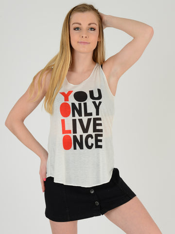 image of our Yolo vest as worn by our model who does a stage pose