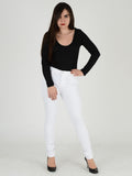 Full length Photo of our white skinny jeans. Our Model is 5ft 3 inches and wears a UK size 8