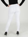 Back Photo of our white skinny jeans. Our Model is 5ft 3 inches and wears a UK size 8