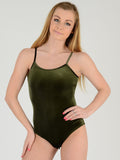 Close up front photo of our Khaki velvet bodysuit. Our model is 5ft % inches and she wears a UK size 8.