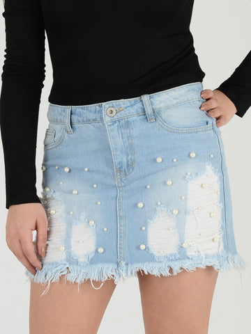 Front shot of our Light Blue Denim skirt with Pearl stud detailing.