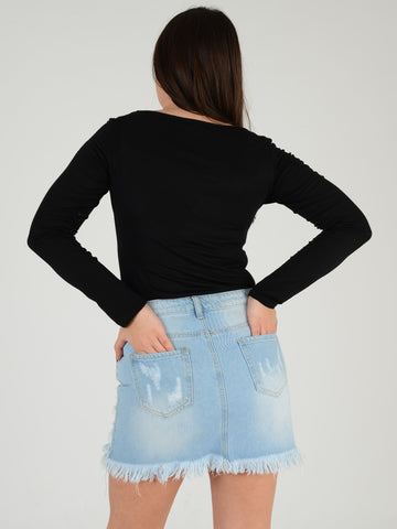 Back  picture shot of our Light Blue Denim skirt with Pearl stud detailing.