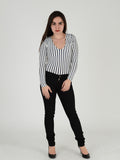 Full length photo of our Black skinny Jeans. Our Model is 5ft 3 inches tall and wears a Uk size 8