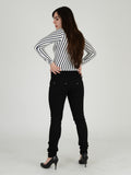 Back view of our Black skinny Jeans. Our Model is 5ft 3 inches tall and wears a Uk size 8