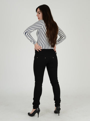 Black Button Skinny Jean - Capsuleight