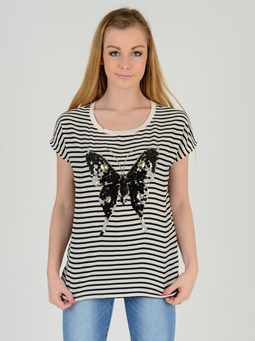 Butterfly sequin top on a black and white stripe background. Our model is 5ft 5 inches tall and wears an UK size 8