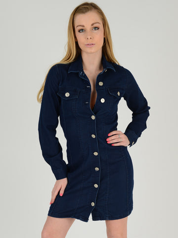 Front Picture of our Denim  dress. Our model is 5ft 5 inches tall and she wears a UK size 8