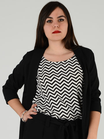 Zig Zag Print Top underneath Black Formal Jacket
