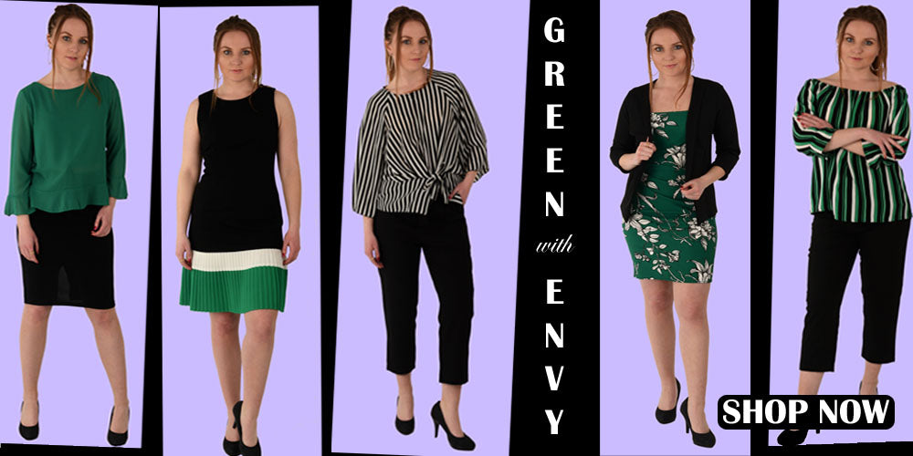 Our hero banner of Green envy a formal work wear capsule that has green, black and white