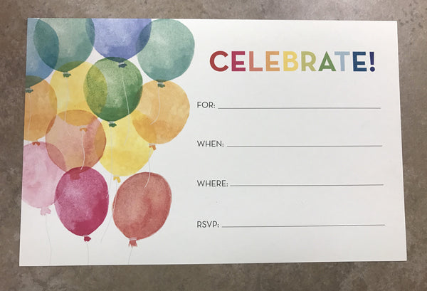 """Celebrate"" Fill-In Invitations"