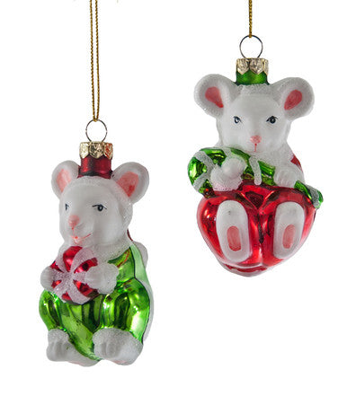 Glass Mouse with Candy Ornament