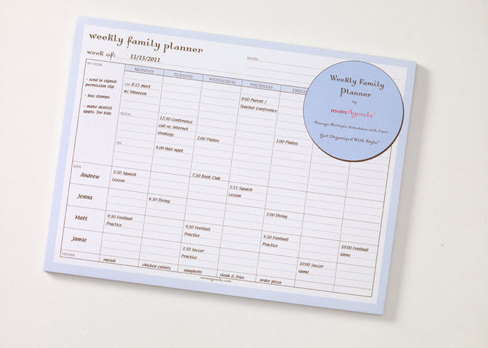 momagenda weekly family planner gifts and paper on plaza