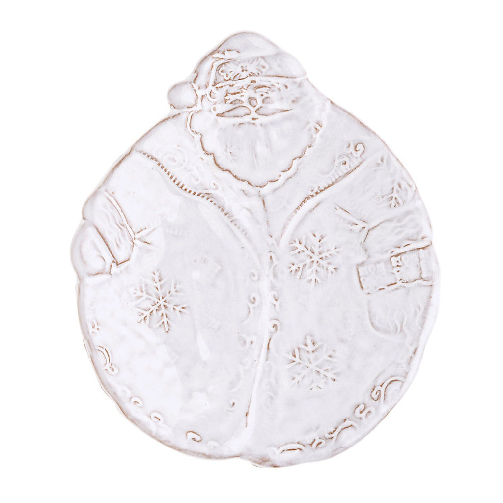 Bellezza Holiday White Santa Canape Plate
