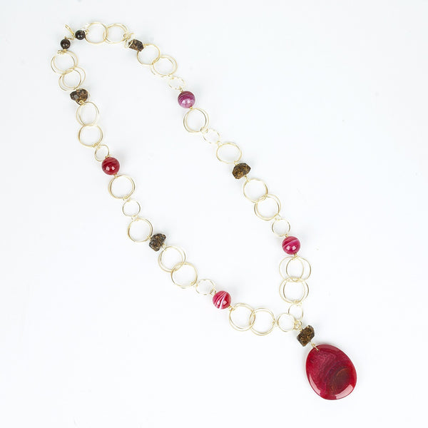 Raspberry Agate Gold Chain Necklace