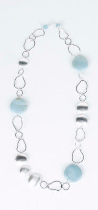Amazonite with Silver Chain Necklace