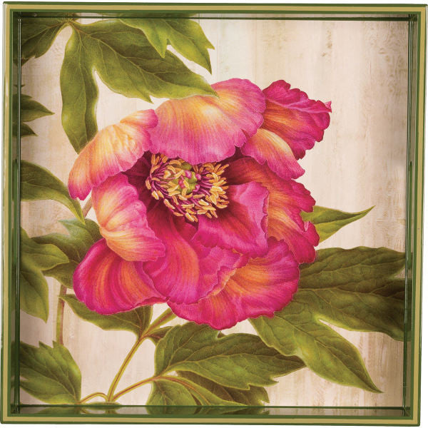 Pink Peony Square Tray