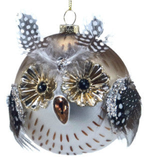 Spotted Owl Glass Bauble Ornament