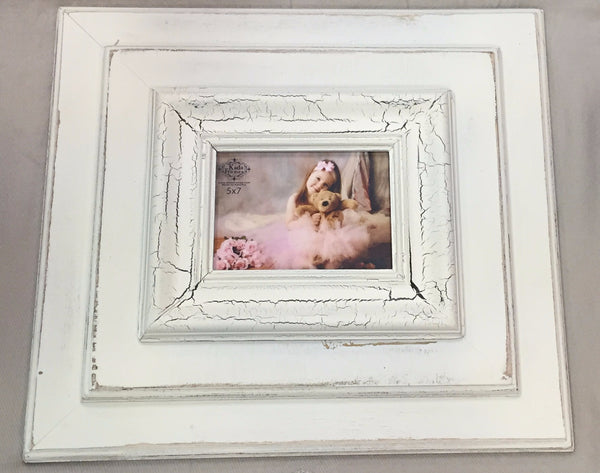 White/White Crackle Double Frame 5 x 7