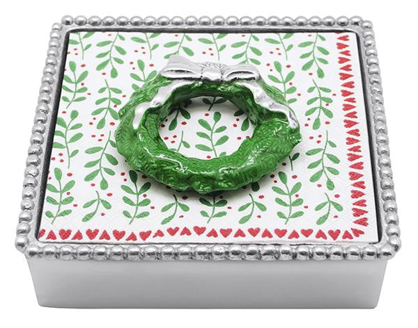 Green Wreath Beaded Napkin Box