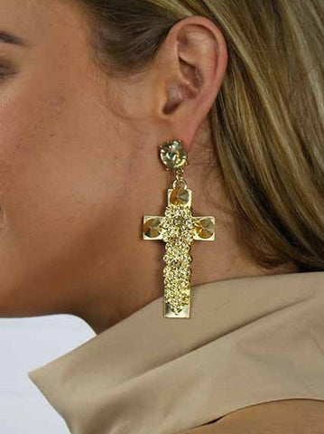 Holy Moly Gold Cross Earrings
