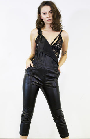 Another Chance Leatherette Overalls