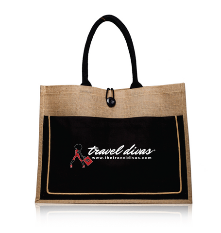Black & Natural Travel Divas Jute Tote