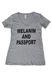 Melanin And Passport Gray T-shirt