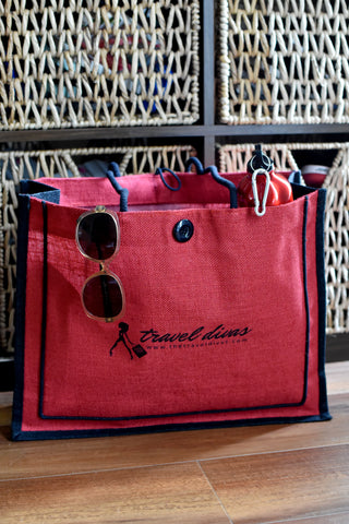 Jute Red Travel Divas Tote